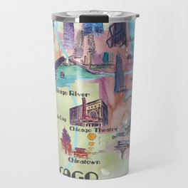Chicago Favorite Map with touristic Top Ten Highlights in Colorful Retro Style Travel Mug