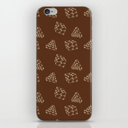 the pyramids and cubes on a brown background . artwork iPhone Skin