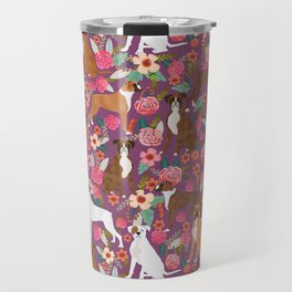 Boxer dog breed florals flower dog pattern gifts for pure breed lovers boxers Travel Mug