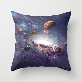 planets of the solar system galaxy Throw Pillow