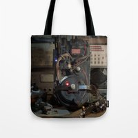"ghostbusters Tote Bags featuring Ghostbusters - ""Workbench""  by Matthew Clark"