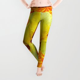 YELLOW GERMAN BEARDED IRIS FLOWER ON GOLD ART Leggings