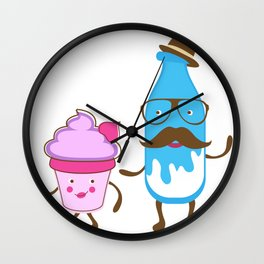 Mister milk and  miss cupcake Wall Clock