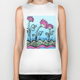 Three Spring Flowers - Blue Biker Tank