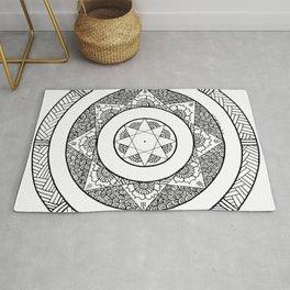 Flower Star Mandala - White Black Rug
