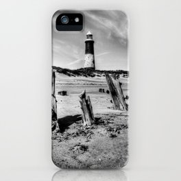 Spurn Point Lighthouse and Groynes iPhone Case