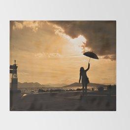 Rainy port Throw Blanket