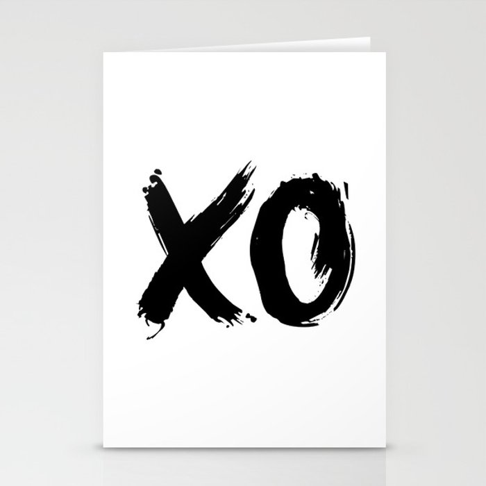 XO Hugs and Kisses black and white xoxo gift for her girlfriend bedroom art and home room wall decor Stationery Cards