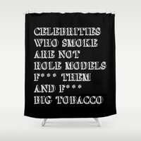 cigarettes Shower Curtains featuring Smoking In memory of my Father by pollylitical