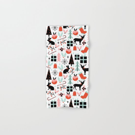 Christmas ornaments minimal holly reindeer candy cane christmas tree pattern print Hand & Bath Towel