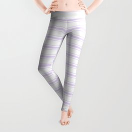 Chalky Pale Lilac Pastel and White Wide Mattress Ticking Stripes Leggings