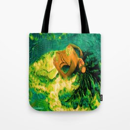 Nude Mermaid white green tail ladykashmir Tote Bag