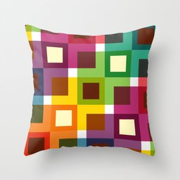 Geometric Pattern 11 (Colorful squares) Throw Pillow