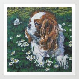 Beautiful Blenheim Cavalier King Charles Spaniel Dog Art Painting by LA.Shepard Art Print