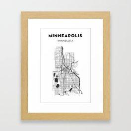 MINNEAPOLIS MAP PRINT Framed Art Print