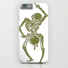 A Zombie Undead Skeleton Marching and Beating A Drum iPhone Case