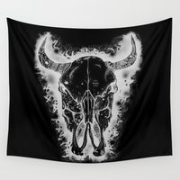 bull Wall Tapestries featuring Black Bull by Morgan Ralston