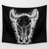 bull Wall Tapestries featuring Black Bull by Morgan Ralston
