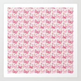 Butterfly Pink Group Of Butterflies Art Print