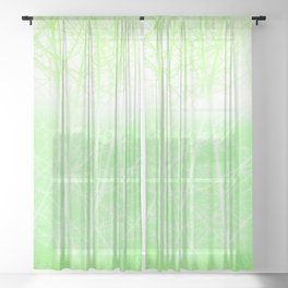 Frosted Winter Branches in Lime Green Sheer Curtain