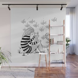 Girl Petting Cat Wall Mural