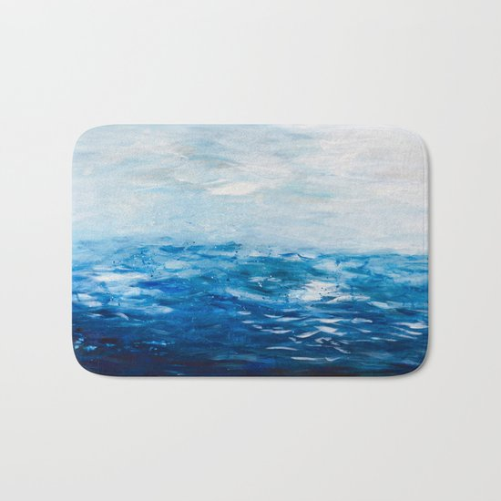 Paint 10 abstract water ocean seascape modern painting dorm room decor affordable stretched canvas Bath Mat