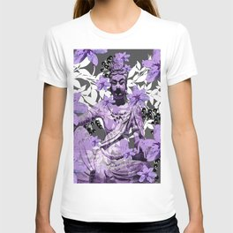 CHINA ANTIQUITIES YESTERDAY MEETS TODAY IN PURPLE AND WHITE T-shirt