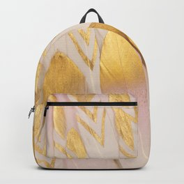 Gold Pink Arrow Feathers Backpack
