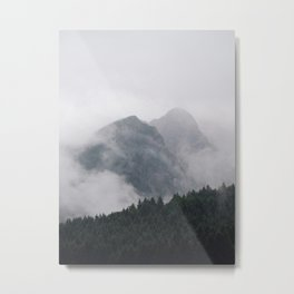 Minimalist Modern Photography Landscape Pine Forest Jagged High Grey Mountains Metal Print