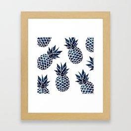 Pineapple Blue Denim Framed Art Print