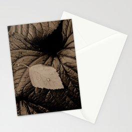sepia leaf-on-leaf Stationery Cards