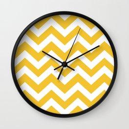 Saffron - yellow color - Zigzag Chevron Pattern Wall Clock
