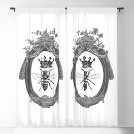 Queen Bee | Vintage Bee with Crown | Black, White and Grey | Blackout Curtain