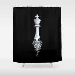 Farewell to the Pale King / 3D render of chess king breaking apart Shower Curtain