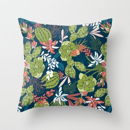 Succulent Garden Navy Throw Pillow