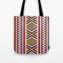 Slavic cross stitch pattern with red green orange black white Tote Bag