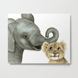 Elephant Calf and Lion Cub Metal Print