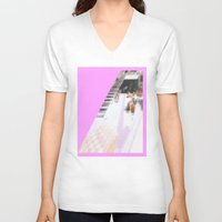 cafe V-neck T-shirts featuring cafe by ONEDAY+GRAPHIC