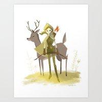 robin hood Art Prints featuring Robin Hood by Doreen Marts