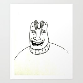 A laughing man with a crown on his head Art Print