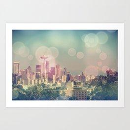 Dreamy Seattle Skyline Art Print