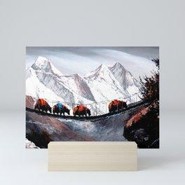 Herd Of Mountain Yaks Himalaya Mini Art Print