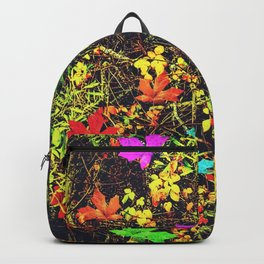 maple leaf in blue red green yellow pink orange with green creepers plants background Backpack
