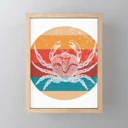 Vintage Crab Lover Retro Style Silhouette Gift Framed Mini Art Print