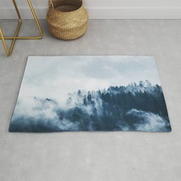 CLOUDS - WHITE - FOG - TREES - FOREST - LANDSCAPE - NATURE - TIMBER - WOODS - PHOTOGRAPHY Rug