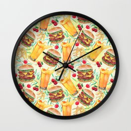 burgers, juices & fries Wall Clock