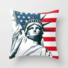 Pop Art Statue Of Liberty Throw Pillow