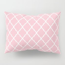 Moroccan Trellis, Latticework - Pink White Pillow Sham