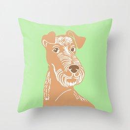 Irish Terrier Printmaking Art Throw Pillow