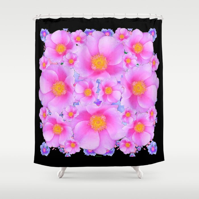 Black Art Design With Pink Roses Shower Curtain